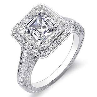 Natural 2.32 CTW Asscher Cut Double Halo Diamond