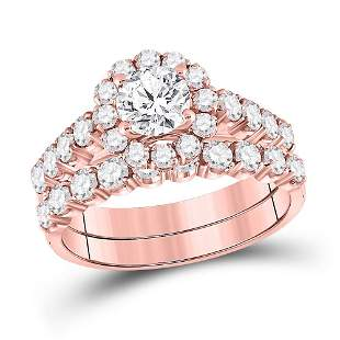 14kt Rose Gold Round Diamond Bridal Wedding Ring Band