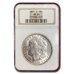 1891-O Morgan Dollar MS-63 NGC