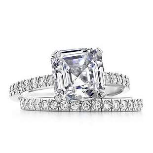 Natural 1.97 CTW Asscher Cut Diamond Engagement Set