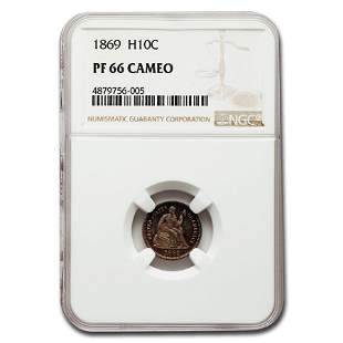 1869 Liberty Seated Half Dime PF-66 Cameo NGC