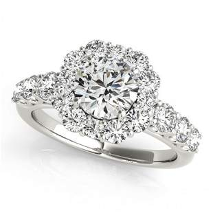 Natural 2.25 ctw Diamond Halo Ring 14k White Gold
