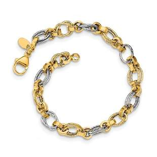 14K Two-tone Gold Polished Fancy Link Bracelet - 8 in.