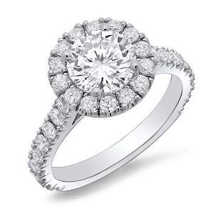 Natural 1.77 CTW Halo Round Cut Forever Diamond