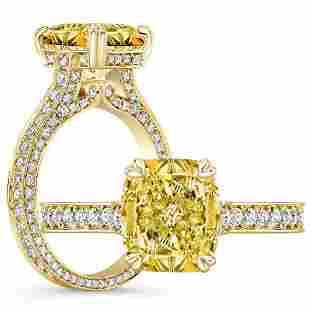 Natural 2.77 CTW Canary Yellow Cushion Cut Diamond