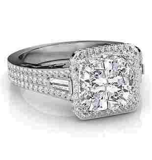 Natural 3.32 CTW Cushion Cut & Baguettes Halo Diamond