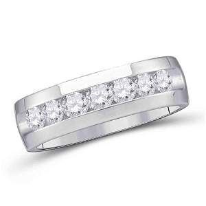 14kt White Gold Mens Round Channel-set Diamond Wedding