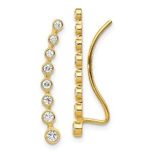 14k Yellow Gold Cubic Zirconia Ear Climber Earrings