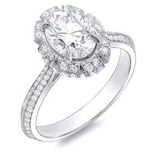 Natural 2.12 CTW Crown Halo Oval Cut Diamond Engagement