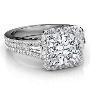 Natural 3.02 CTW Cushion Cut & Baguettes Halo Diamond
