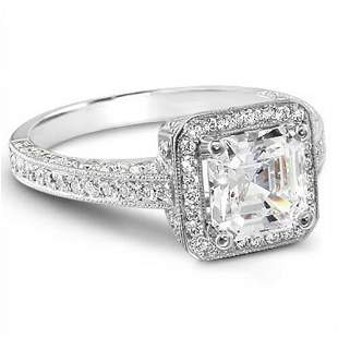 Natural 3.12 CTW Asscher Cut Diamond Engagement Ring