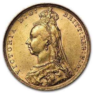 1887-1893 Great Britain Gold Sovereign Victoria Jubilee