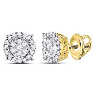 14kt Yellow Gold Womens Round Diamond Halo Cluster