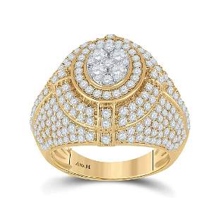 14kt Yellow Gold Mens Round Diamond Cluster Ring 3-5/8