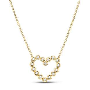 14kt Yellow Gold Womens Round Diamond Outline Heart