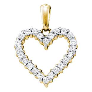 14kt Yellow Gold Womens Round Diamond Heart Pendant 1/3