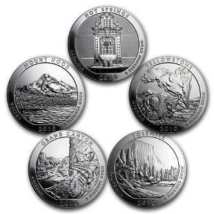 2010 5-Coin 5 oz Silver ATB Set (America the Beautiful)