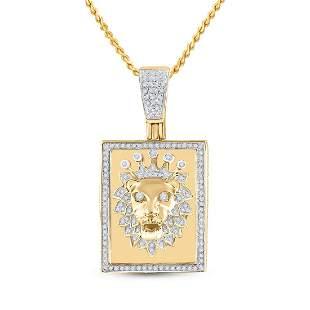 14kt Yellow Gold Mens Round Diamond Lion Crown