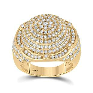 14kt Yellow Gold Mens Round Diamond Circle Cluster Ring