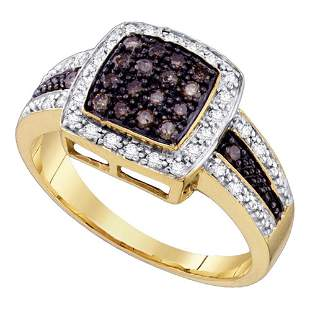 14kt Yellow Gold Womens Round Brown Diamond Cluster