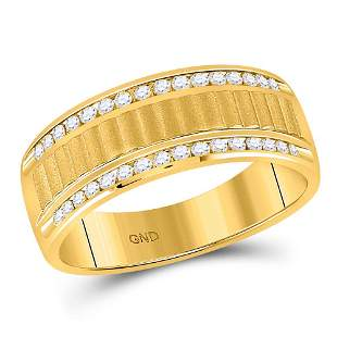 14kt Yellow Gold Mens Round Diamond Double Row Matte