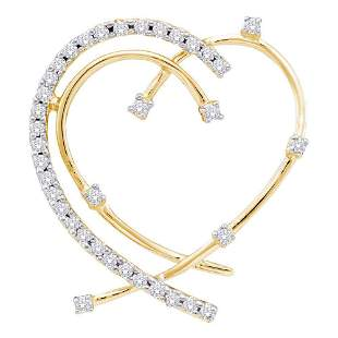 14kt Yellow Gold Womens Round Diamond Wire Heart