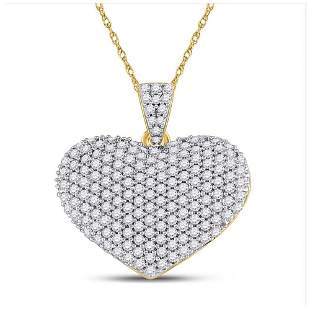 14kt Yellow Gold Womens Round Diamond Charmed Heart