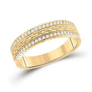 14kt Yellow Gold Mens Round Diamond Wedding Brick Inlay