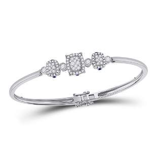 14kt White Gold Womens Round Diamond Triple Cluster