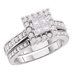 14kt White Gold Princess Diamond Halo Bridal Wedding
