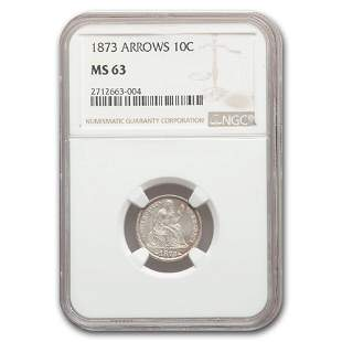 1873 Liberty Seated Dime MS-63 NGC (Arrows)
