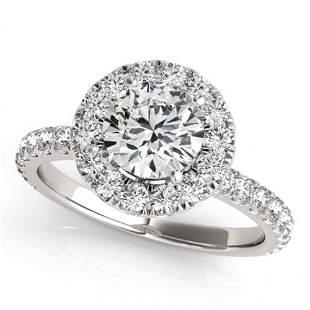 Natural 1.25 ctw Diamond Halo Ring 14k White Gold