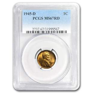 1945-D Lincoln Cent MS-67 PCGS (Red)