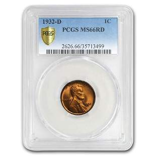 1932-D Lincoln Cent MS-66 PCGS (Red)