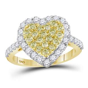 14kt Yellow Gold Womens Round Yellow Diamond Heart Ring