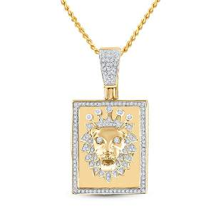 14kt Yellow Gold Mens Round Diamond Lion Crown