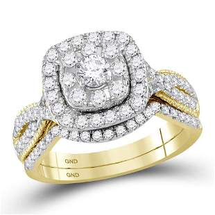 14kt Yellow Gold Round Diamond Halo Bridal Wedding Ring