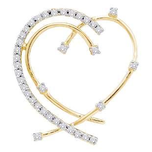 14kt Yellow Gold Womens Round Diamond Wire Heart