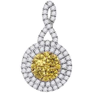 14kt White Gold Womens Round Yellow Diamond Concentric