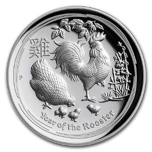 2017 Australia 1 oz Silver Lunar Rooster High Relief
