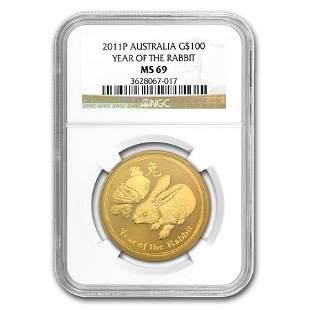 2011 1 oz Gold Lunar Year of the Rabbit MS-69 NGC
