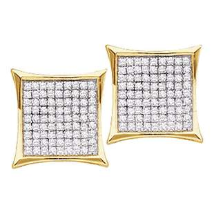 14kt Yellow Gold Womens Round Diamond Square Cluster