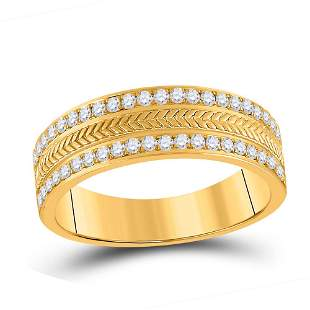 14kt Yellow Gold Mens Round Diamond Wedding Wheat Band