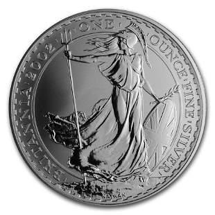 2002 Great Britain 1 oz Silver Britannia BU