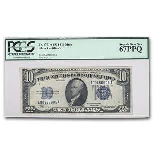 1934-C $10 Silver Certificate Superb Gem New-67 PPQ