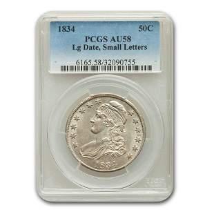 1834 Capped Bust Half Dollar Lg Date, Sm Letters AU-58