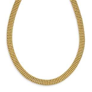 14k Yellow Gold w/2in ext. Fancy Choker Necklace - 18
