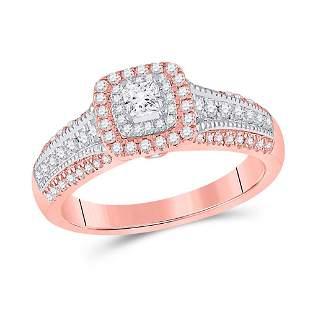14kt Two-tone Gold Princess Diamond Halo Bridal Wedding