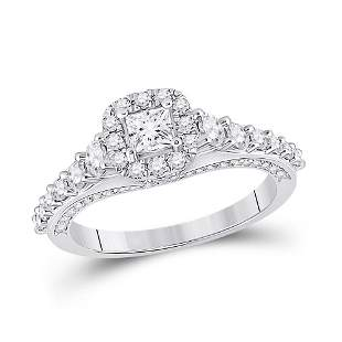 14kt White Gold Princess Diamond Halo Bridal Wedding