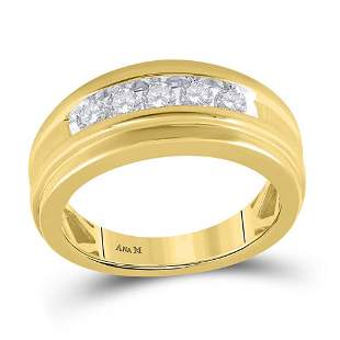 14kt Yellow Gold Mens Round Diamond Wedding Channel Set